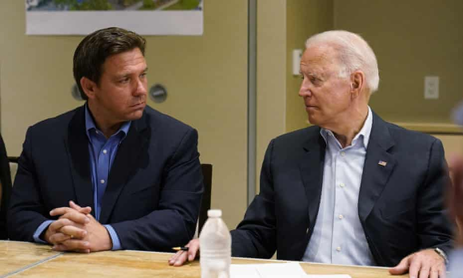 DeSantis with Biden at Surfside on Thursday.  The governor received high praise from the president.