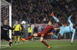 Barcelona goalkeeper Marc-Andre ter Stegen makes the save from El Shaarawy.