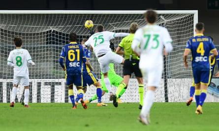 Domenico Berardi scores Sassuolo's second goal at Verona