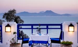 Restaurant Dar Zarrouk with its sea views, Tunis, Tunisia.