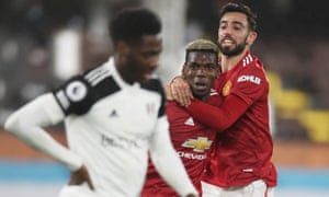 Manchester United's Paul Pogba celebrates scoring their second goal with Bruno Fernandes.
