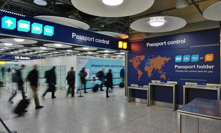 The UK and European separate passport control and immigration lanes at Heathrow.
