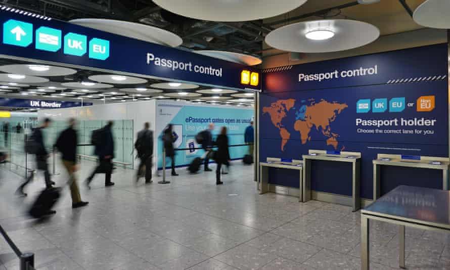 Passport control in UK airport