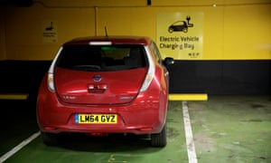 An electric car in an NCP parking bay with charging facilities