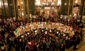 Protesters demonstrate inside the capitol building in Madison in 2011.