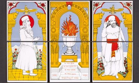 Set of six Zoroastrian tiles used in a domestic Parsi shrine. 1989-90, India.