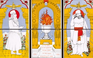 Fire of faith … six Zoroastrian tiles from the late 1980s from a domestic Parsi shrine in Living With Gods at the British Museum.
