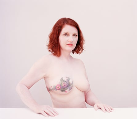 A portrait of Sarah, who had a floral tattoo on her breast after a mastectomy