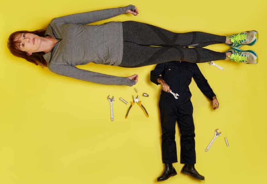 Photograph of Zoe Williams in running gear lying across a mechanic