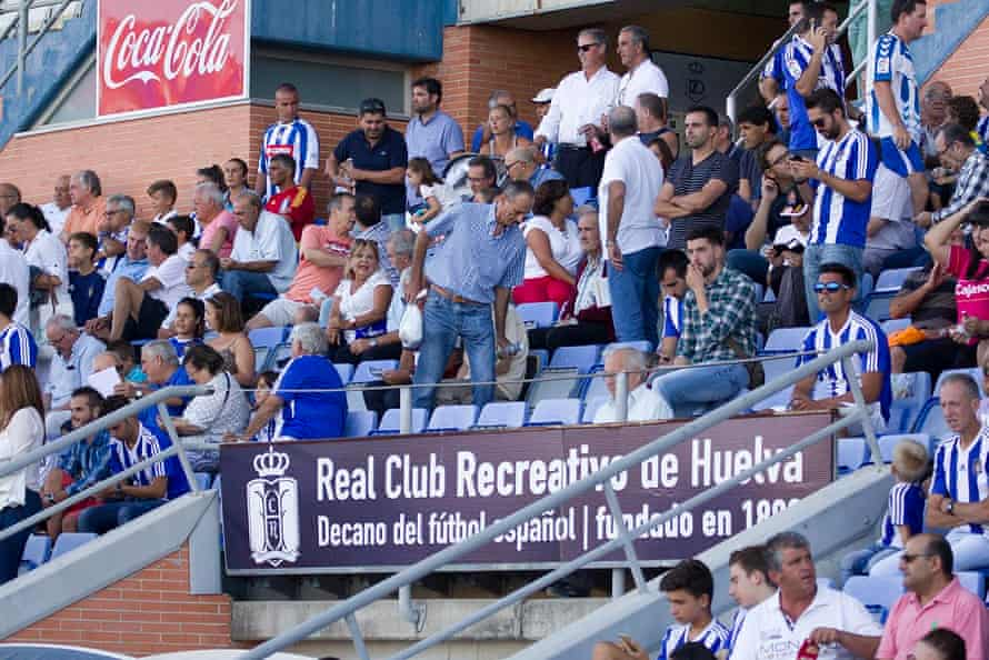 'Worrying times.' Recreativo fans watching their team play UD Almería B on 31 January 2016. The home side won the game 1-0.