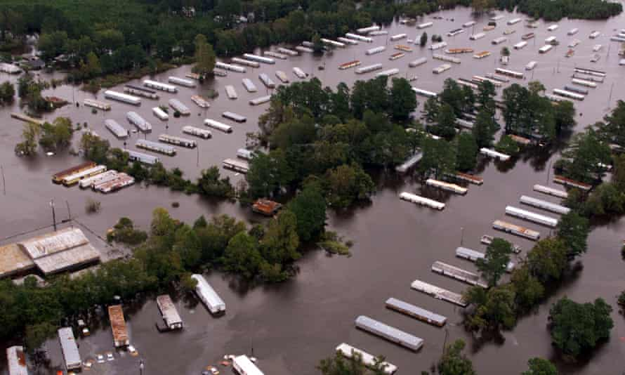 Dozens of homes are shown partially submerged in Princeville, North Carolina, in September 2020.