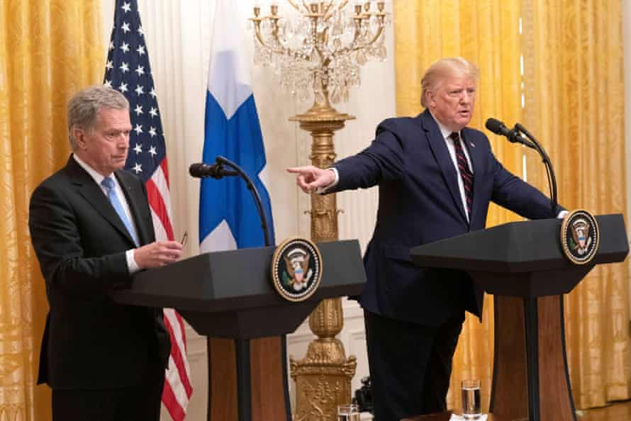 Sauli Niinistö wore a so-this-is-perfectly-normal expression in public as the US president ranted and raved.