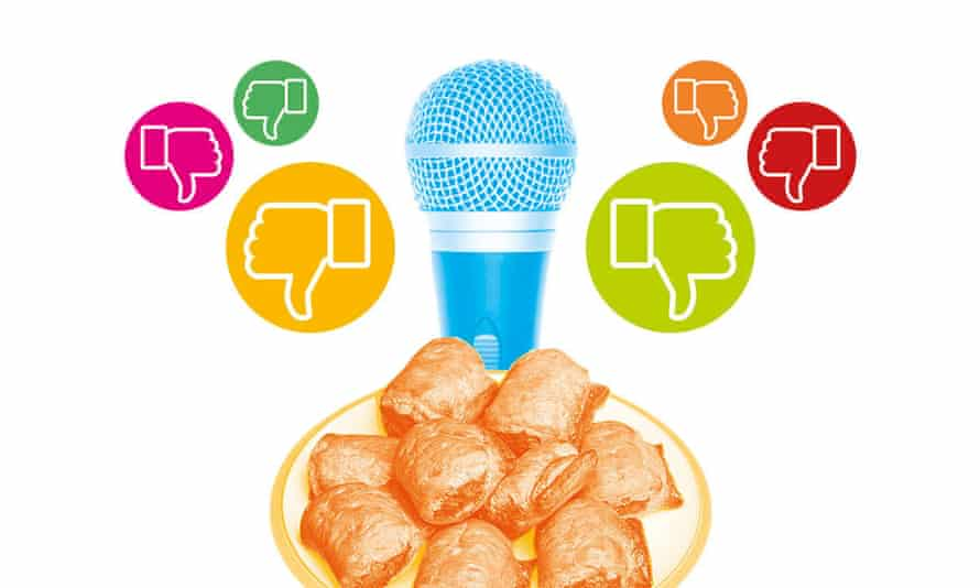 Illustration of vegan sausage rolls, a microphone and thumbs-down emojis