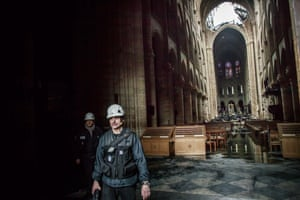 The inside of the damaged Notre Dame Cathedral.