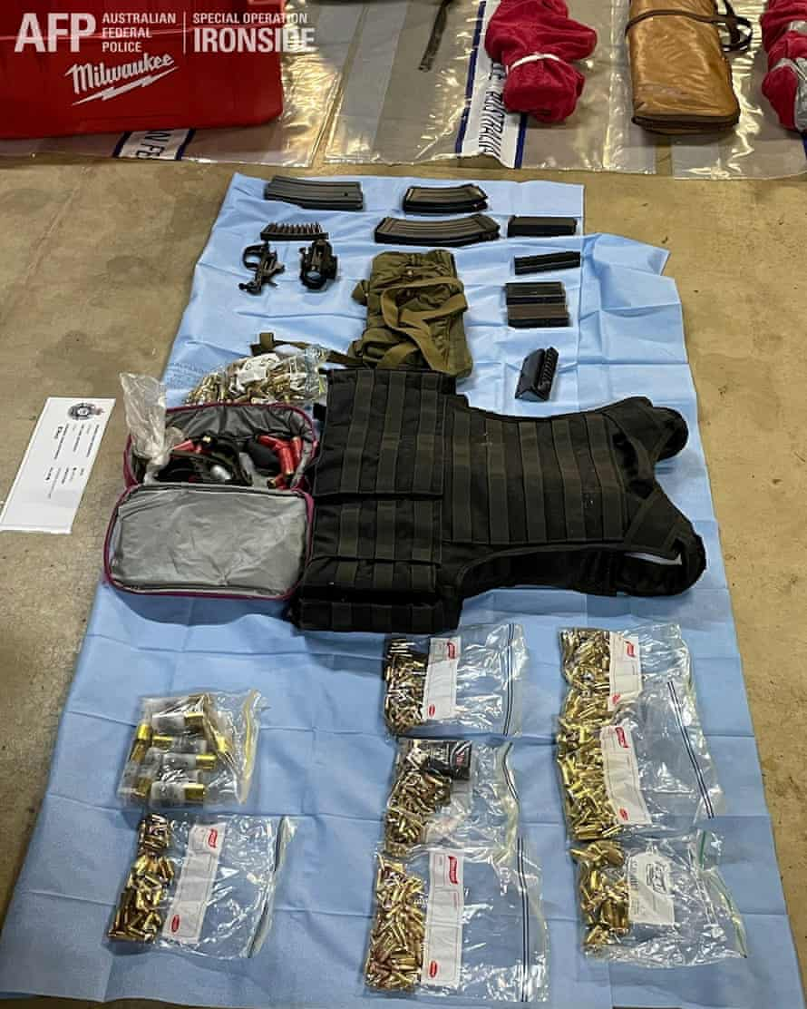 Weapons seized by Australian federal police during the operation against organised crime
