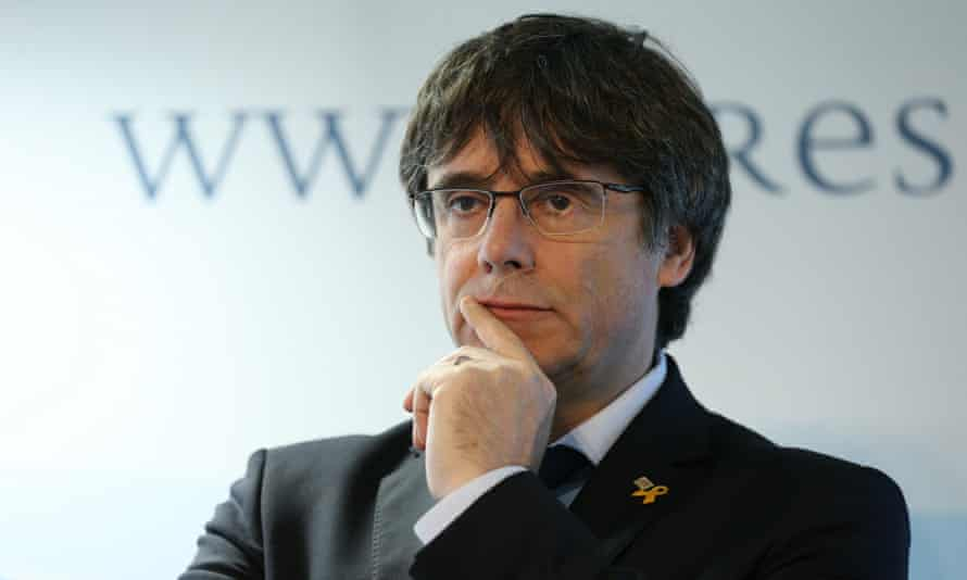 Carles Puigdemont gives a press conference in Brussels, Belgium, on 10 April.