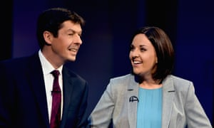 The contenders for the Scottish Labour leadership, Kezia Dugdale, right, and Ken Macintosh in a BBC Scotland debate.