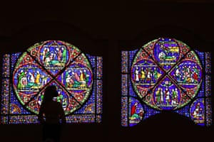 London, England Staff at the British Museum unveil an entire 800-year-old stained glass window on loan from Canterbury cathedral for a new exhibition about Thomas Becket