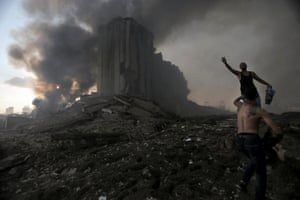 People at the scene of the blast near the port of Beirut.