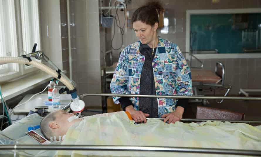In recovery: 11-year-old Viktoria and her mother in intensive care after her surgery.