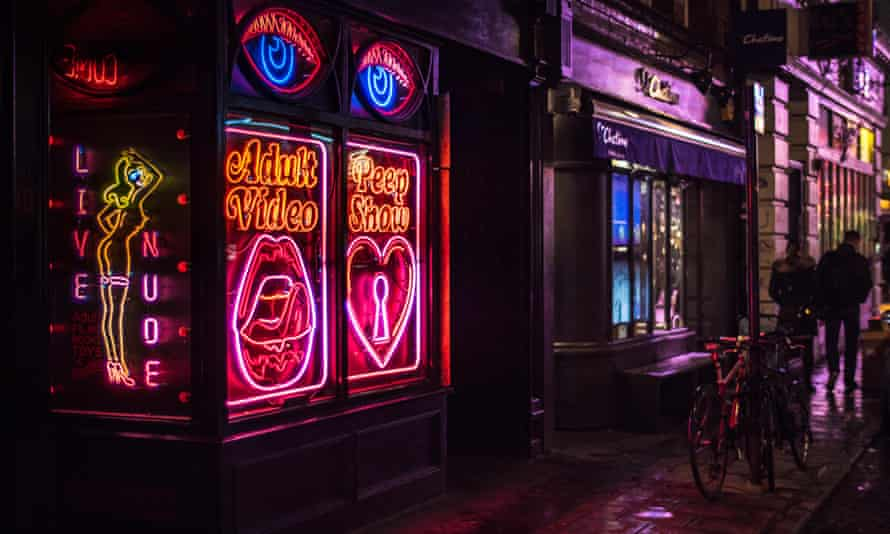 One of the few remaining sex shops / peep shows in Old Compton Street in London's Soho
