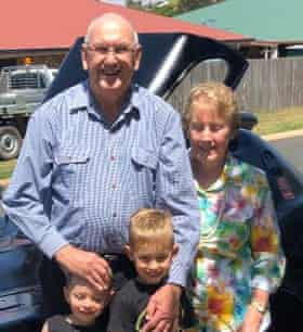 Des Williams with his wife and grandchildren. He died on 2 April in a Toowoomba hospital.