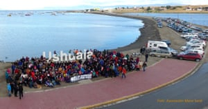 Salmon farming in Argentina ( Beagle channel ) story Kawésqar indigenous people protesting in Ushuaia