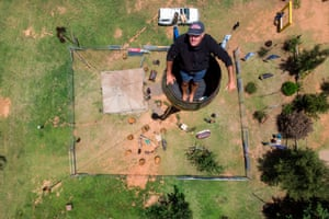 An aerial view of Vernon Kruger in his barrel
