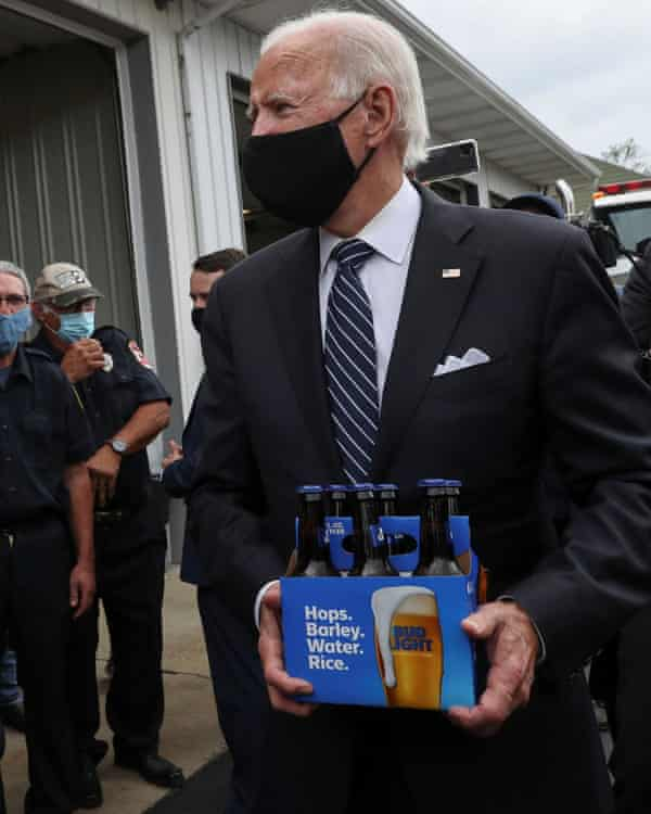 Joe Biden brings Bud Light beer to firefighters in Shanksville, Pennsylvania on 11 September 2020.