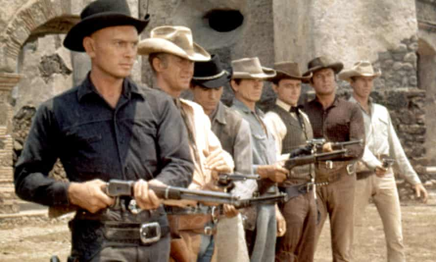 The Magnificent Seven (1960): from left Yul Brynner, Steve McQueen, Horst Buchholz, Charles Bronson, Robert Vaughn, Brad Dexter, James Coburn.
