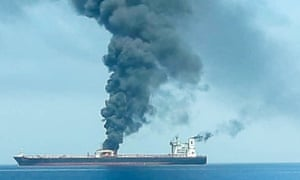 An oil tanker is seen after it was attacked at the Gulf of Oman, in waters between Gulf Arab states and Iran.