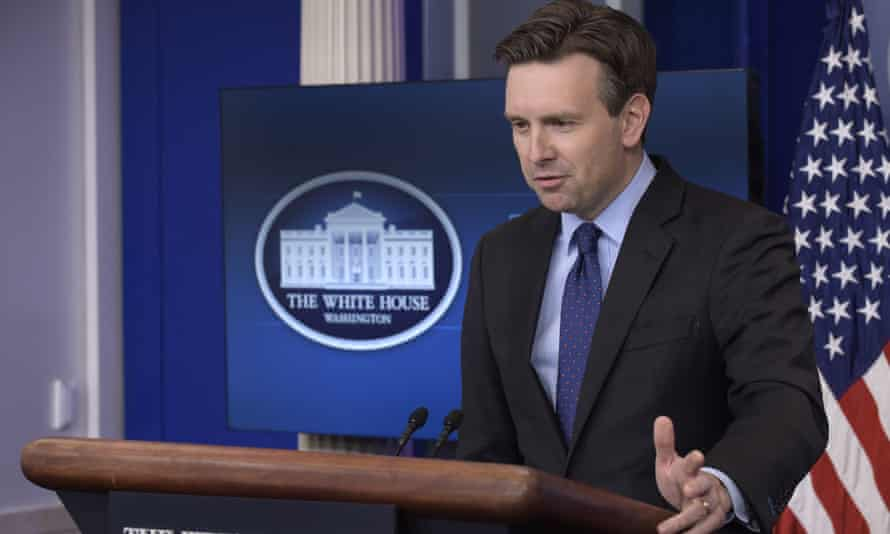 Josh Earnest speaks during the daily briefing at the White House in Washington Thursday.