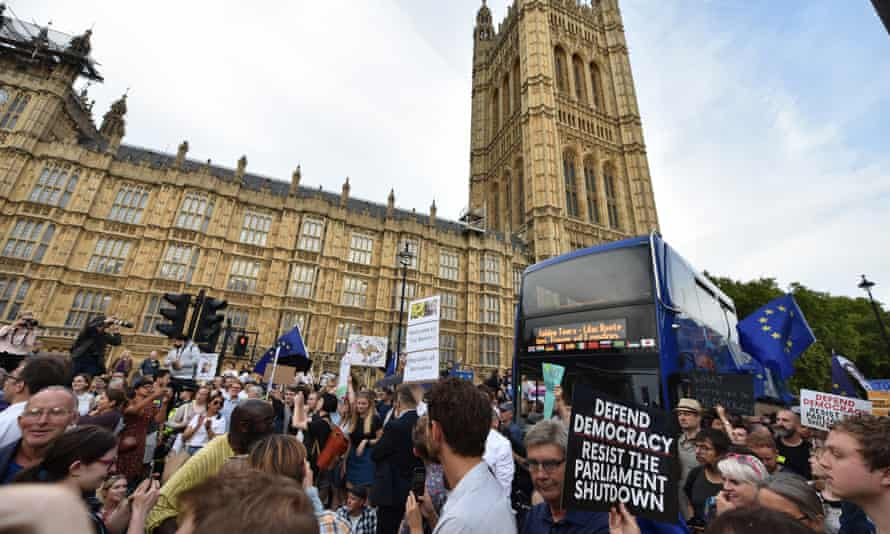Protesters gather in Westminster against the government proroguing parliament