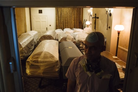 Empty caskets for victims of Covid-19 at a funeral home in the Queens borough of New York on 29 April.