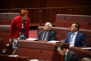 One Nation leader Pauline Hanson with senate party colleagues Brian Burston and Peter Georgiou during question time