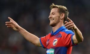 Patrik Hrosovsky celebrates scoring for Viktoria Plzen at Real Madrid