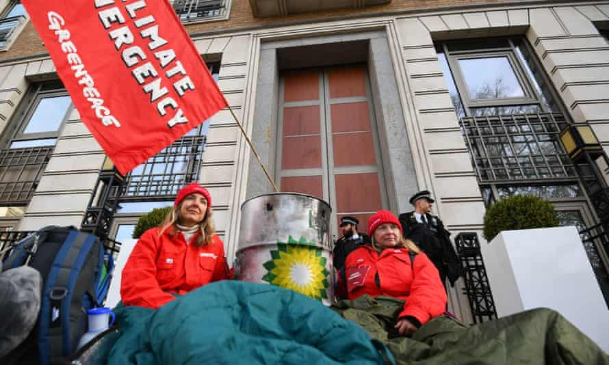 Greenpeace activists block the entrance to BP's headquarters in February 2020 to mark Bernard Looney's first day as chief executive.