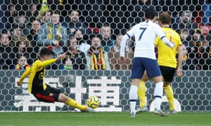 Watford's Ignacio Pussetto clears the ball off the line.