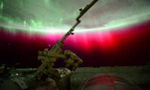 A photo of a red aurora around the earth, as tweeted by the astronaut Scott Kelly, from the International Space Station, on 23 June 2015.