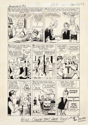 Very few pages of original art from the early Marvel era have been uncovered. In 2008, an anonymous donor contributed the original artwork to Amazing Fantasy No. 15 (where Spider-Man made his iconic debut) to the Library of Congress. A close study of these pages offers clues to the important collaboration between Stan and Steve Ditko as seen here in Stan's production notes to the artist.