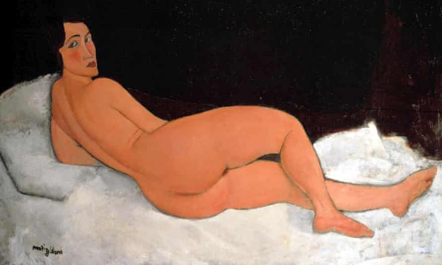 A detail from Nu couché (sur le côté gauche), one of 22 reclining nudes completed by Amedeo Modigliani.