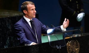 Macron at the UN on Tuesday.