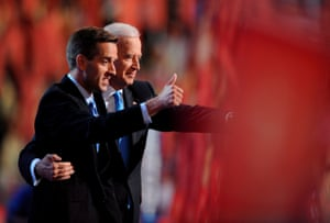 Senator Joe Biden appears with his son Beau Biden at the Democratic National Convention on 27 August 2008