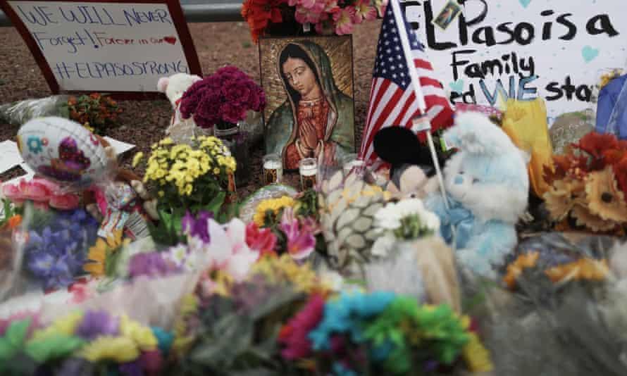 Flowers and mementos at a makeshift memorial in El Paso, Texas.