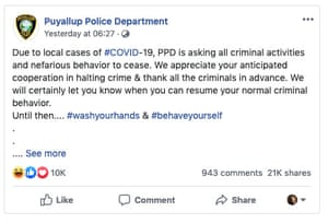 Puyallup, Washington police department asks that criminal activities cease