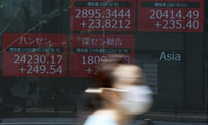 A woman wearing a face mask walks past an electronic stock board showing Japan's Nikkei 225 and other Asian countries' index at a securities firm in Tokyo Monday, 11 May 2020.