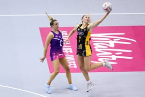 Jade Clarke of Wasps (right) battles for the ball with Natalie Panagarry during the match between Wasps and Loughborough Lightning.