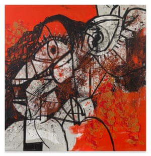 Red and Black Diagonal Portrait, 2016