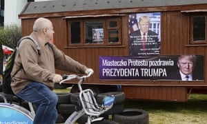 A poster of Donald Trump in Warsaw