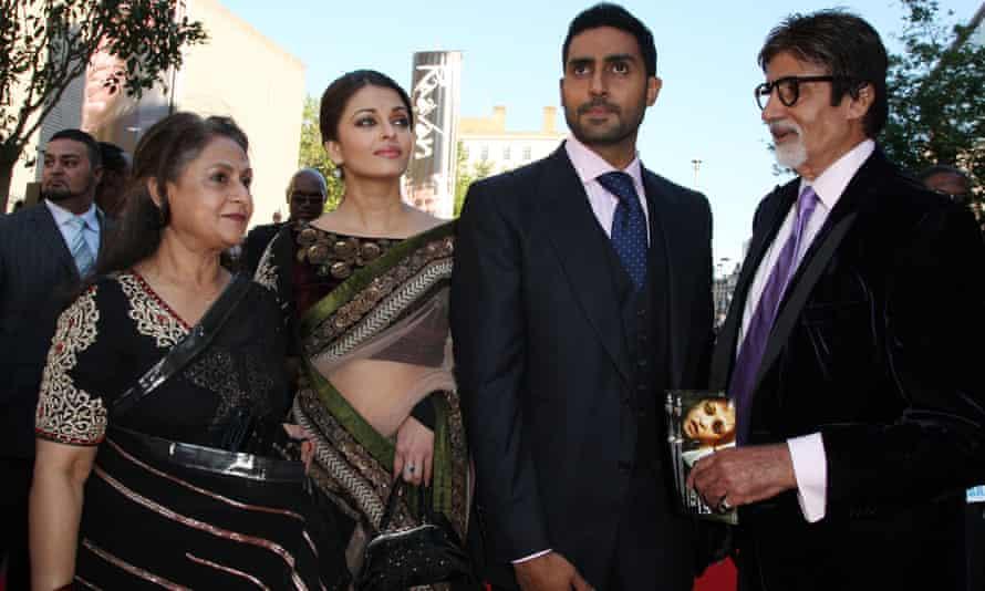 Aishwarya Rai Bachchan with her husband Abhishek Bachchan and Amitabh Bachchan with his wife Jaya in London in June 2010.